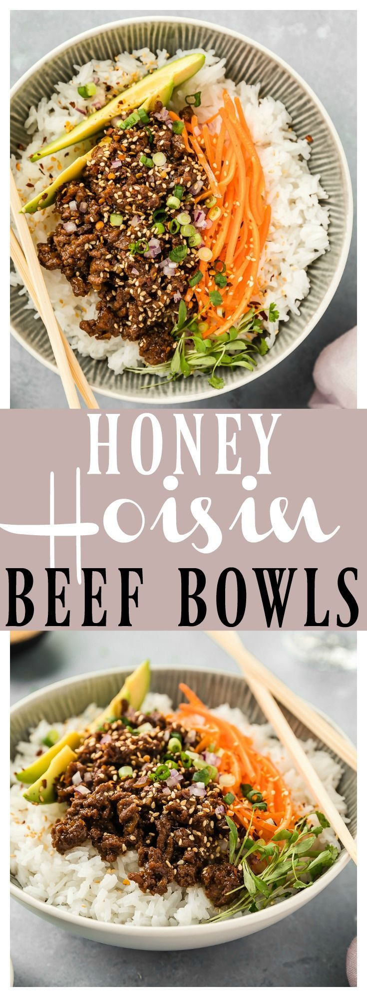 Stir-Fry Honey Hoisin Beef Bowls | These Bowls are packed with flavor & ready in 30 minutes or less! Lean ground beef mixed with finely diced mushrooms, red onions, and Asian aromatics, sautéed in a sweet and savory sauce, these bowls are hearty, yet healthy and perfect for easy weeknight dinners! #easy #recipe #dinner #beef