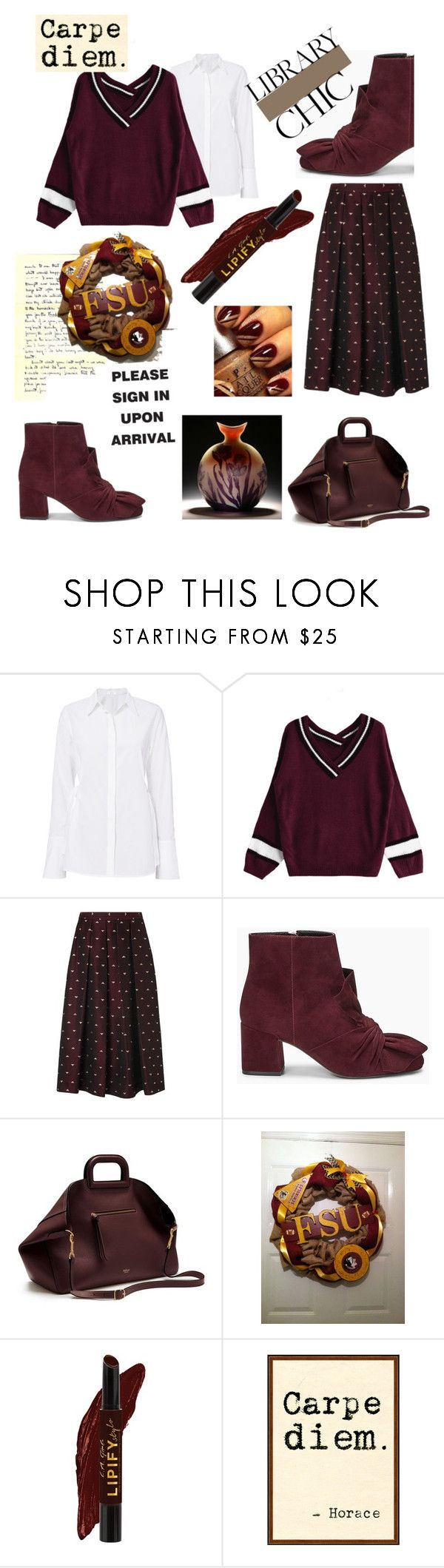 """""""Burgundy Library Chic📕📘"""" by mdfletch ❤ liked on Polyvore featuring L.K.Bennett, Rebecca Minkoff, Natural Curiosities and librarychic"""