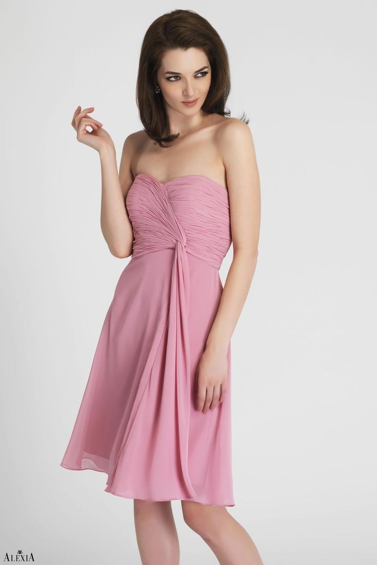 Buy cheap strapless floor length chiffon coral bridesmaid dress - Dusty Rose Bella Chiffon Cocktail Length Strapless Dress With Ruched Bodice And Tail At Short Bridesmaid Dressesinexpensive