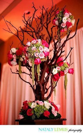 Great centerpiece idea.  Gives a little 'rustic' but 'elegant' feel to the scene
