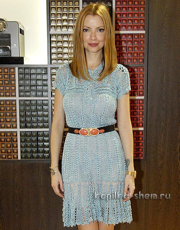 Платье Ванессы Монторо, связанное крючком. Со схемами