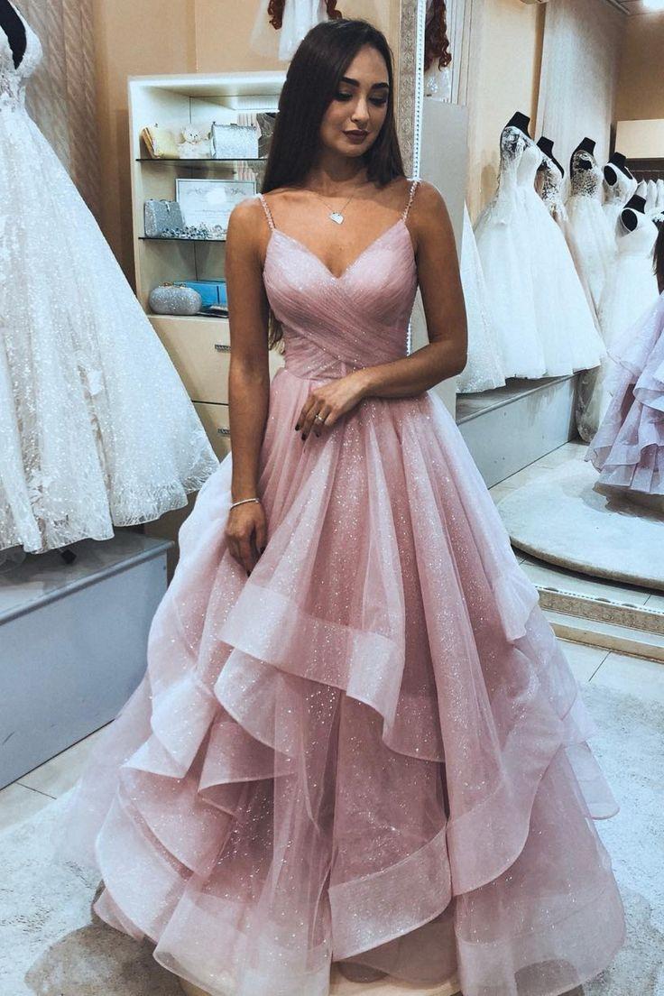 Princess Pink Tulle Long Prom Dress