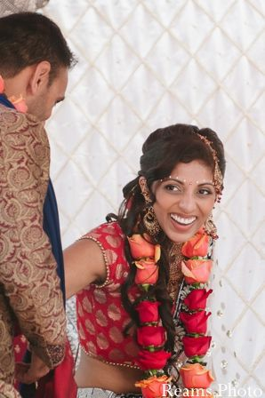 Rose garland - jaimala - red and orange