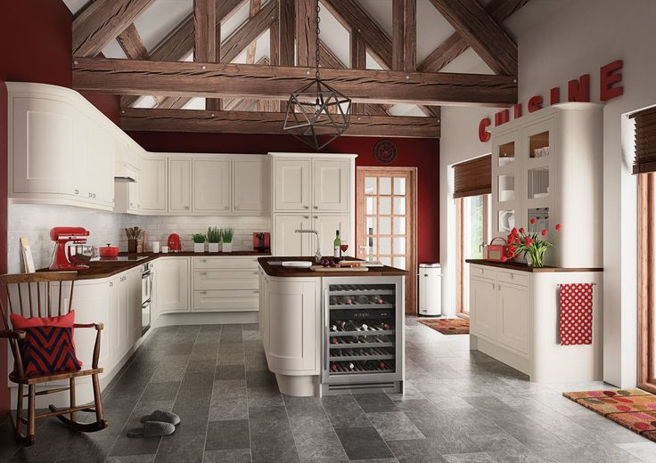 The Somerton Cream kitchen brilliantly shows off a traditional look and the curved cabinets add a contemporary flare