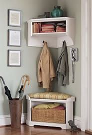 """Corners seem to get a bad rap. They are generally regarded as a waste of space. However, with a little ingenuity, these often dismissed areas of our home can become an active and functional part of your everyday life. For example, we think this """"Samantha"""" Corner Bench and Shelf by PotteryBarn, is perfect for a small entryway. The bottom bench has an open area to hold a basket or your shoes, and the top shelf has hooks for jackets and bags. The top shelf also includes a cubby for additional…"""