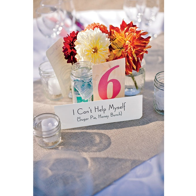 Special Song - Each table displayed a song title; when the DJ played that tune, it was the cue for those guests to get on the buffet line.: Outdoor Wedding, Buffets, Centerpiece, Brides Magazine, Dj Played, Wedding Ideas, Songs, Song Title, Cue