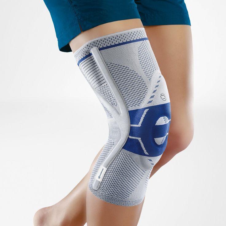 Bauerfeind Genutrain P3 GenuTrain P3 heeft twee geïntegreerde pelottes en een instelbare correctiedraad, die de stand van de knieschijf stabiliseren in zijn natuurlijke, gecentreerde positie. Voorkomt kniepijn bij strekken van het kniegewricht, activeert de spieren en versnelt het genezingsproces.