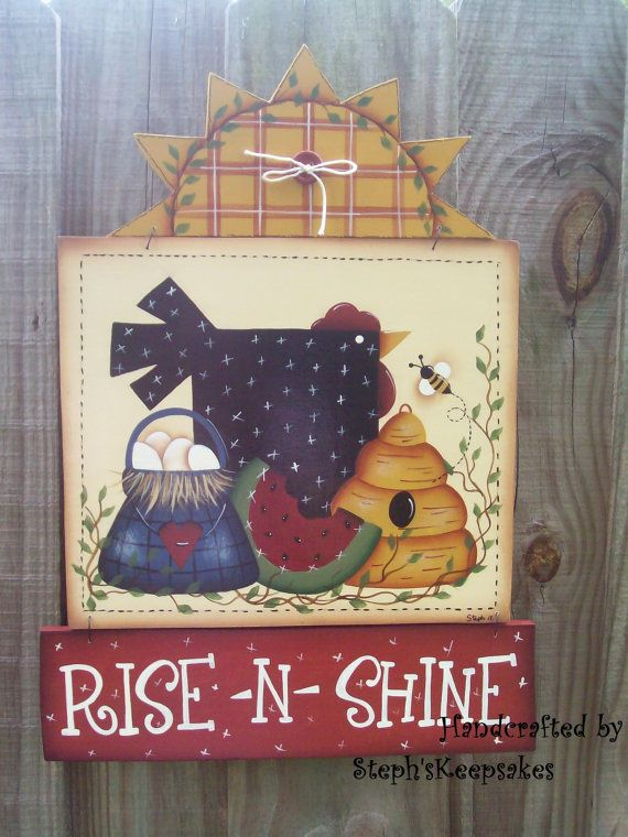 Handpainted Rise 'n Shine Wooden Sign by stephskeepsakes on Etsy