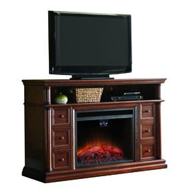 allen   roth�62-in W Sienna Wood Media Console Electric Fireplace with Thermostat and Remote Control