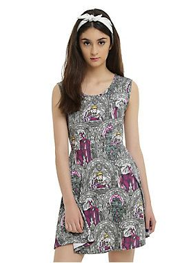 """<p>Every story needs a villain and sometimes villains are so good, they need to be represented on theirown dress. Fit and flare skater dressfeatures a stain glass print with The Evil Queen, Maleficent and Ursula and a keyhole back accent.</p>  <ul> <li>92% polyester; 8% spandex</li> <li>Wash cold; dry low</li> <li>32"""" from shoulder to hem</li> <li>Model is wearing size small</li> <li>Imported</li> </ul>"""