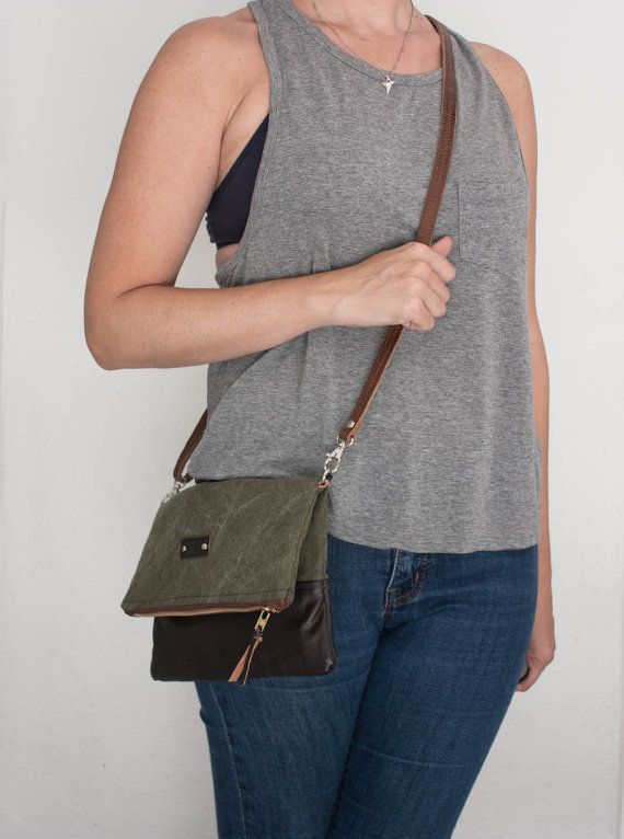 Army Canvas and Leather Foldover Crossbody Bag / by Heistjewelry