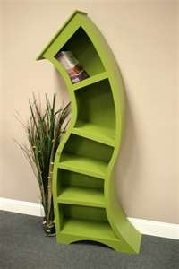 Very Dr. Seuss-ish. - Green wonky topsy turvy curved curves curvy shelves shelving shelf abstract furniture
