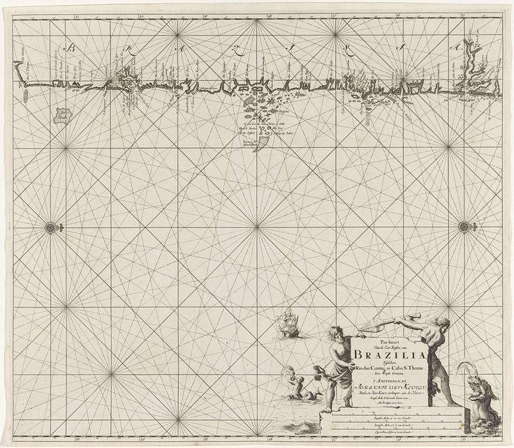 Jan Luyken   Zeekaart van een deel van de kust van Brazilië, Jan Luyken, Claes Jansz Voogt, Johannes van Keulen (I), 1683 - 1799   Zeekaart van een deel van de kust van Brazilië, met twee kompasrozen, het Noorder ligt rechts. Rechtsonder de titel, het adres van de uitgever ende schaalverdeling, weergegeven in Duitse, Spaanse en Engelse of Franse mijlen (schaal: c. 1:1.500.000). Bij de gegevens zijn twee mannen in gevecht met een zeemonster.