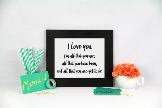 I love you print Black watercolor typography by Papierscharmants