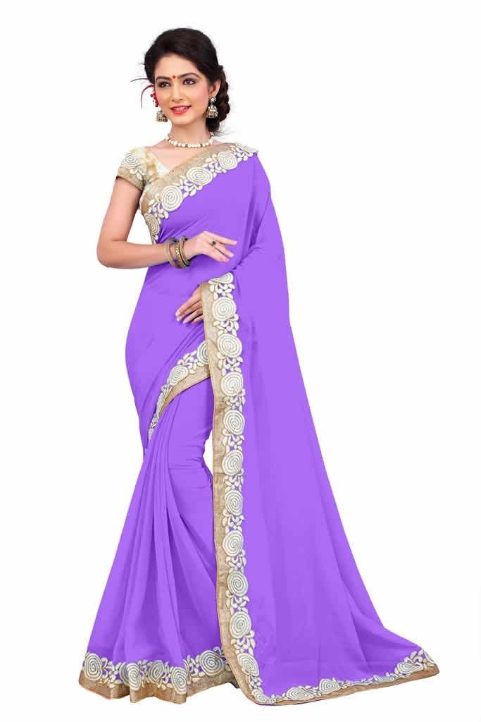 buy saree online Purple Colour Heavy Embroidered Georgette Saree and Blouse Buy Saree online - Buy Sarees online