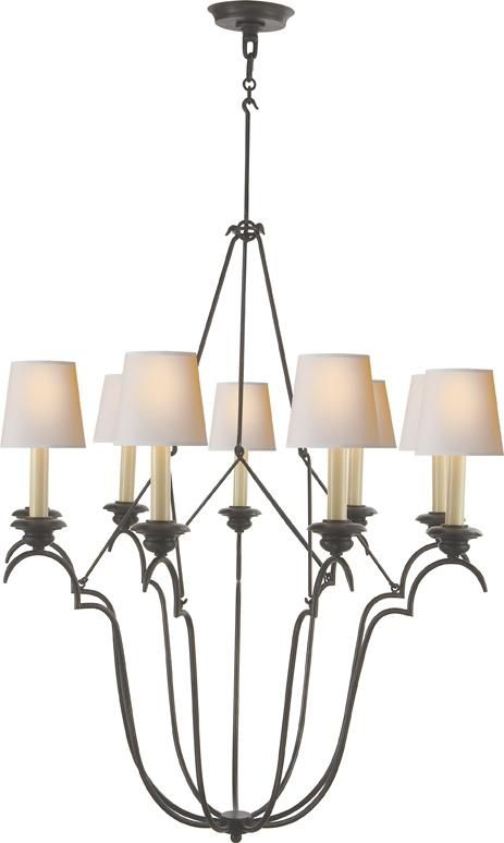 Nine Light Aged Iron With Wax Natural Paper Shade Drum Chandelier 2fjn9 Dulles