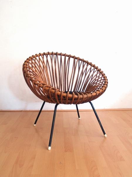 Jaren 50 rotan fauteuil, want!