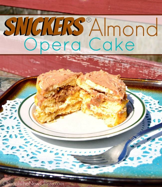 Have you ever tried Opera Cake?  It can be tough to make. Try our EASY SNICKERS Almond Opera Cake Recipe. Yum!