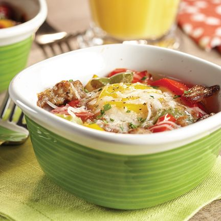 Baked Eggs with Peppers and Breakfast Sausage
