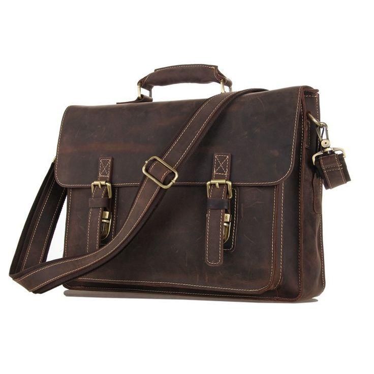 JMD Retro Fashion Crazy Horse Leather Brown Handbags For Men Messenger Bag Shoulder Bags 7205R