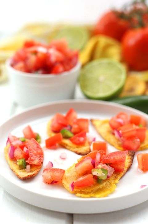 Nothing beats fresh pico de gallo. Paired with homemade (and super crispy!) plantain chips, this makes the perfect afternoon snack. Grab the recipe from The Healthy Maven.