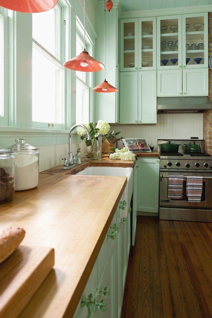 Peach And Green Kitchen Green Kitchen Cabinets Kitchen Inspirations Painted Kitchen Cabinets Colors