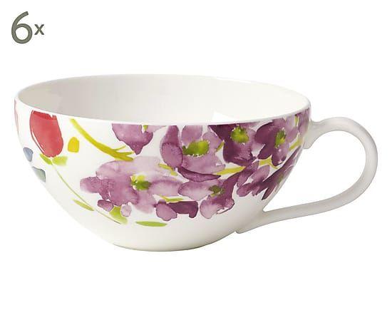 Set di 6 tazze da the' in porcellana multicolor Flowers, 200 ml