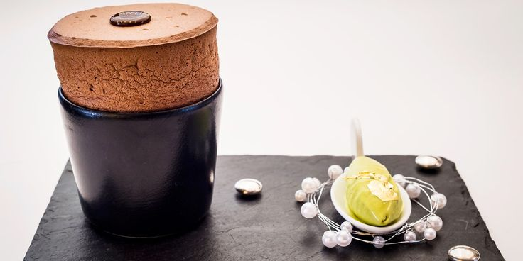 Impress your dinner party guests with this decadent chocolate soufflé with pistachio ice cream from chef Xavier Boyer.