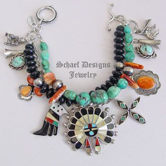 Schaef Designs Zuni sunface, orange spiny oyster, turquoise,& sterling silver 3 strand charm bracelet | Native American Jewelry | Schaef Designs Southwestern turquoise Jewelry | New Mexico