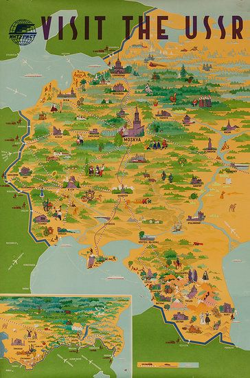 USSR Original Intourist Travel Poster Map