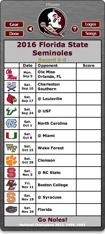 BACK OF MAC APP - 2016 Florida State Seminoles Football Schedule App - Go Noles! - National Champions 2013, 1999, 1993   http://2thumbzmac.com/teamPages/Florida_State_Seminoles.htm