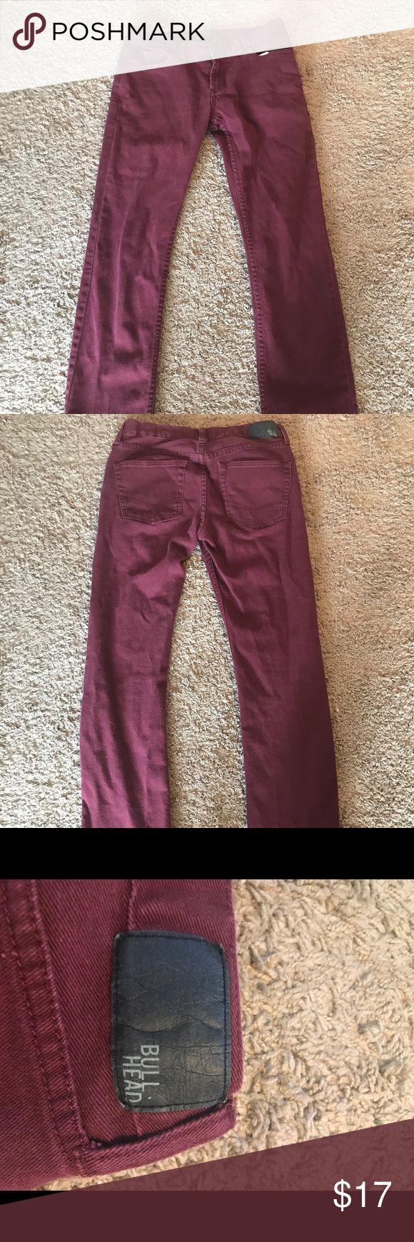 Dark Red Bullhead Skinny Jeans, Men's 31W X 32L Dark Red Dillon Skinny Jeans for Men Bullhead Jeans Skinny