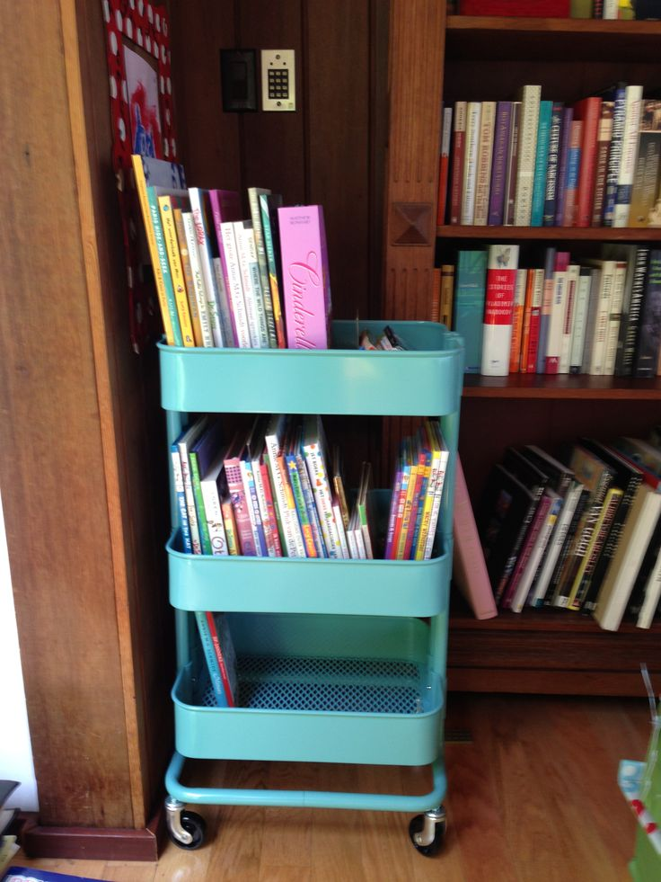 Ikea Raskog kitchen cart as mobile kid's library in our home.