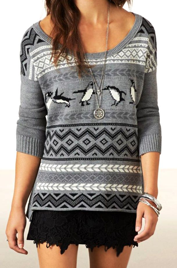Anyone who knows me knows that I'd LOVE this sweater! The colors are awesome and it has PENGUINS! (in a very tasteful way)