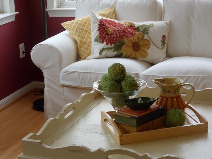 progress ikea couch, etsy& pottery barn pillows Sun room Pinterest Ikea couch, Pottery