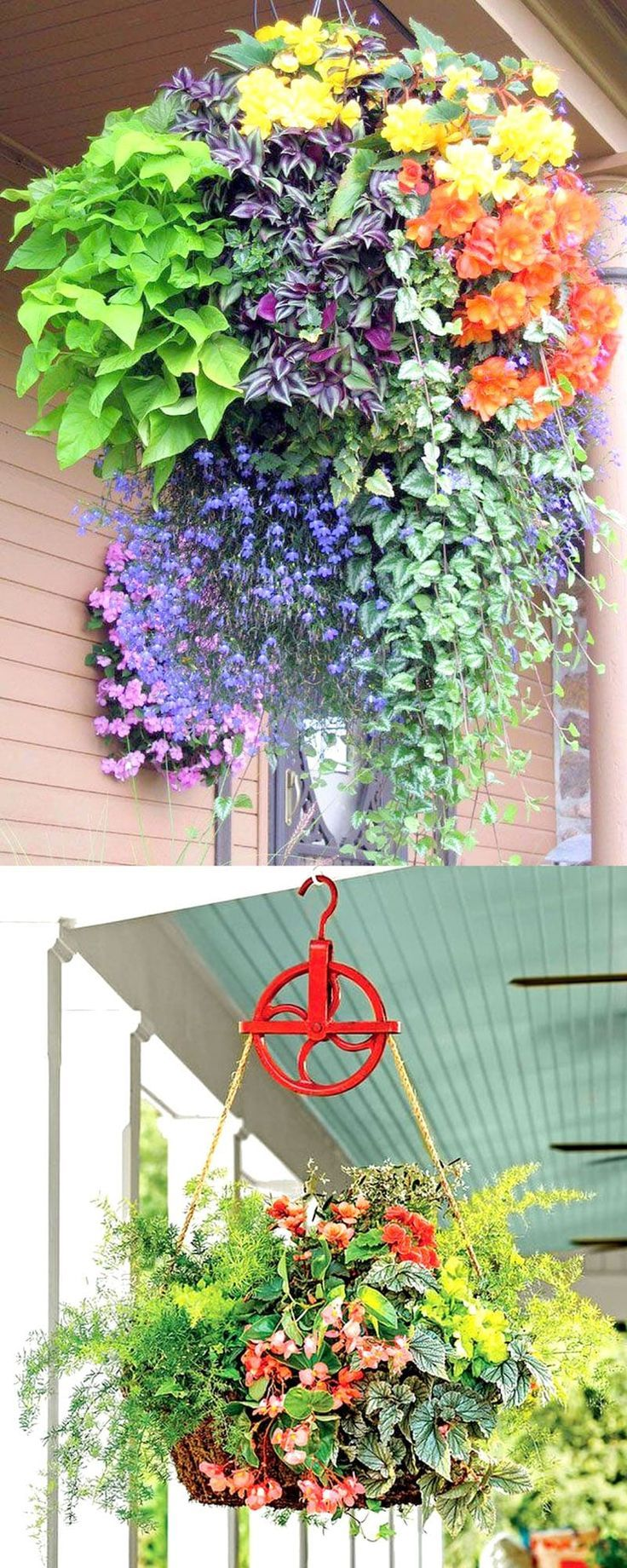 How to plant beautiful hanging baskets that last for months. Choose the best plants from these 15 designer plant lists for hanging flower baskets in sun or shade, plus easy care tips on soil, water and fertilizer for a healthy hanging basket! - A Piece of Rainbow