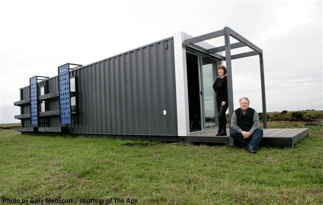 This shipping container based house has been produced to show that the recycling of shipping containers can provide comfortable to luxury very economical living, and to show that we can down-size from McMansions! As a result of the interest in this project, We have recently designed a house for 2 persons in a 20 ft container. Yes, it has a full bathroom and kitchen,  sleeping for 2 and a 2 meter long desk for students who need study space.