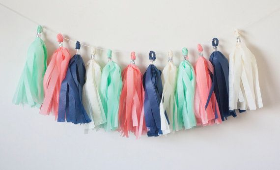 Hey, I found this really awesome Etsy listing at https://www.etsy.com/listing/229940268/navy-mint-coral-tassel-garland-15