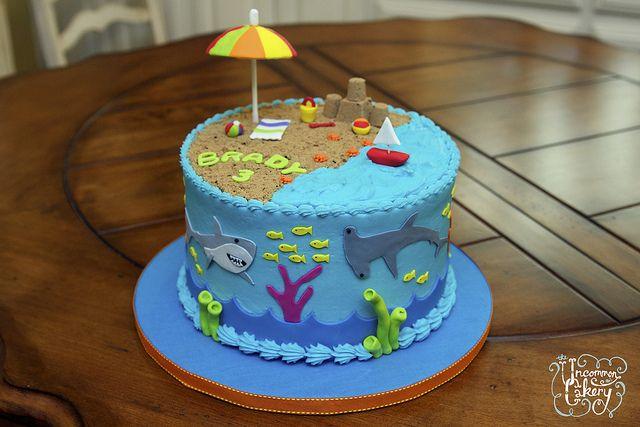 Beach & Shark-Themed Birthday Cake