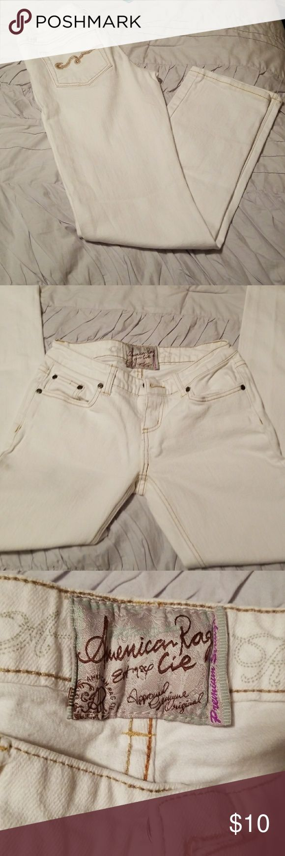 White jeans White straight leg jeans low rise very comfortable. American Rag Jeans Straight Leg