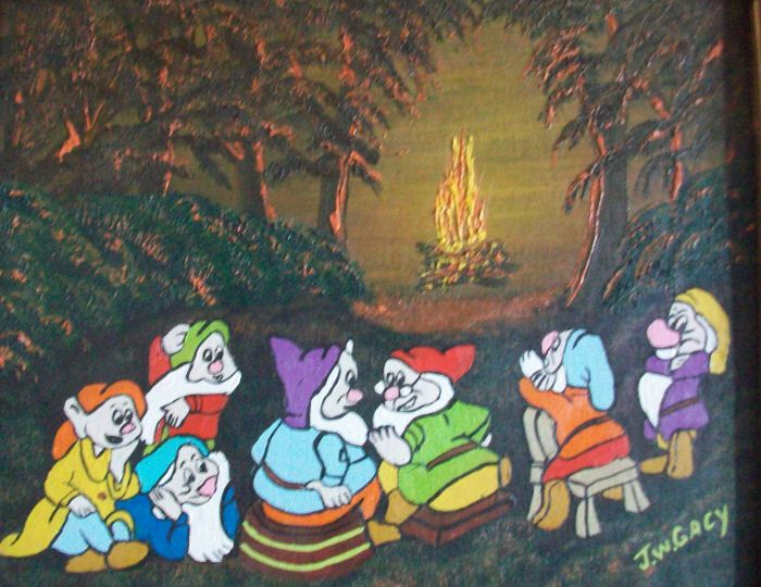 John Wayne Gacy - Hi Ho around the Campfire painting