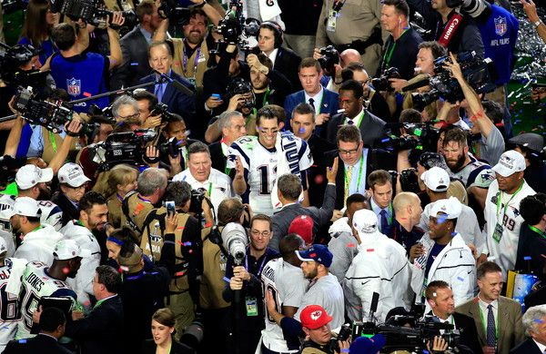 Tom Brady Photos Photos - Tom Brady #12 of the New England Patriots celebrates after defeating the Seattle Seahawks during Super Bowl XLIX at University of Phoenix Stadium on February 1, 2015 in Glendale, Arizona. The Patriots defeated the Seahawks 28-24. - Super Bowl XLIX - New England Patriots v Seattle Seahawks