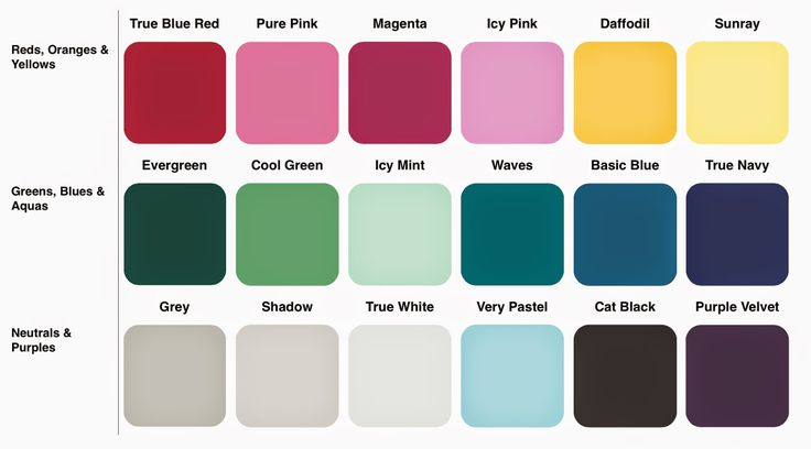 Cool Winter Colour Set True Blue Red 2079-10; Pure Pink 2079-40; Magenta 2077-20; Icy Pink 2077-50; Daffodil 2019-40; Sunray 2022-50; Evergreen 2047-10; Cool Green 6739; Icy Mint 2036-60; Waves 2054-30; Basic Blue 2061-30; True Navy 2065-10; Grey HC-170; Shadow 6000; True White cc-10; Very Pastel 2056-60; Cat Black 2120-10; Purple Velvet 2071-10