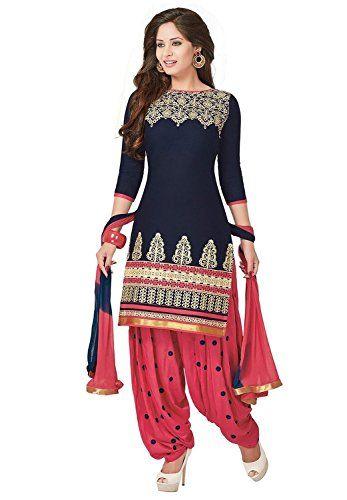 SiyaRam Women's Cotton Patiyala Suit Dress Material(OM-0002569_Navy Blue & Rose Pink)