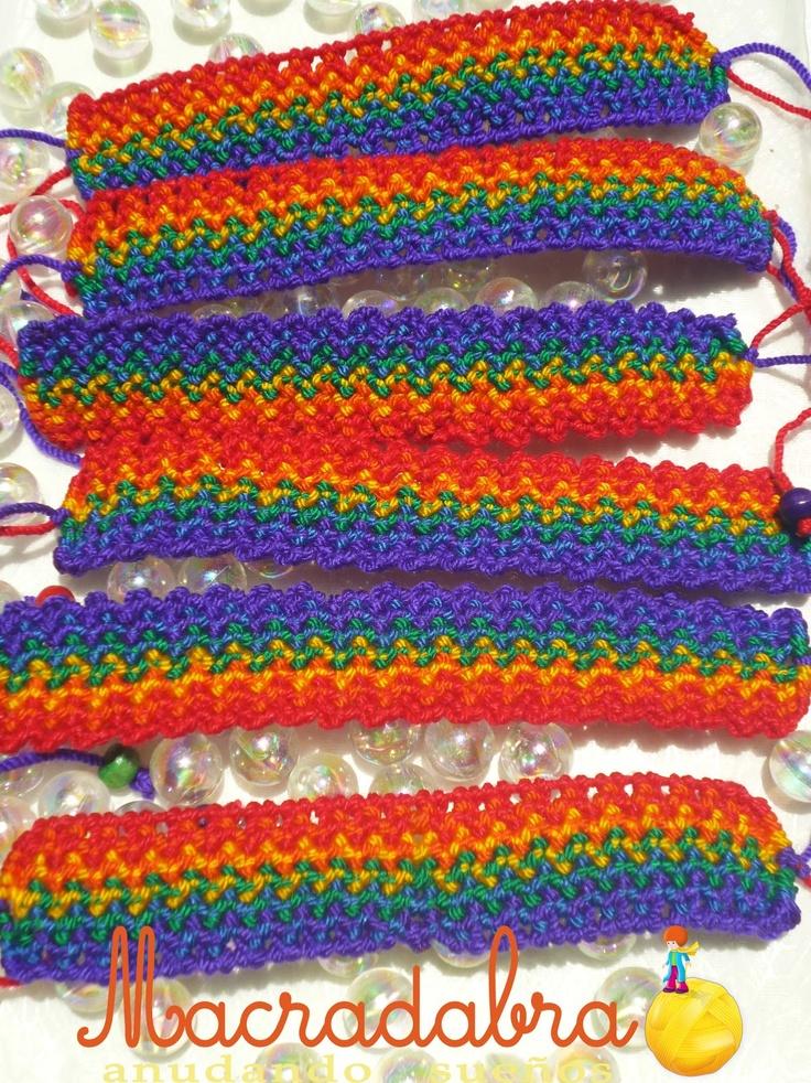 Pulseras Bandera del Orgullo Gay en #Macrame