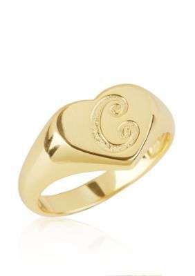 Argento Vivo  C Initial Heart Signet Ring in 18k Yellow Gold over Ster