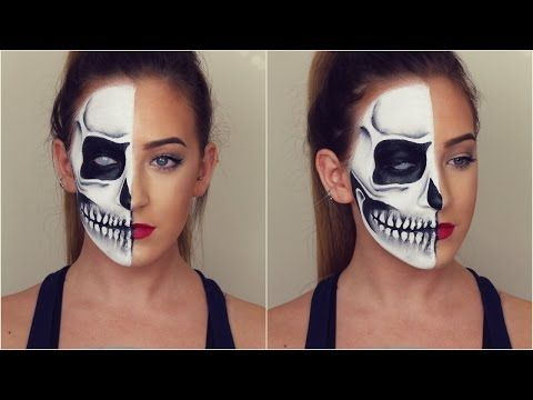 Half Skull Halloween Makeup Tutorial! - YouTube