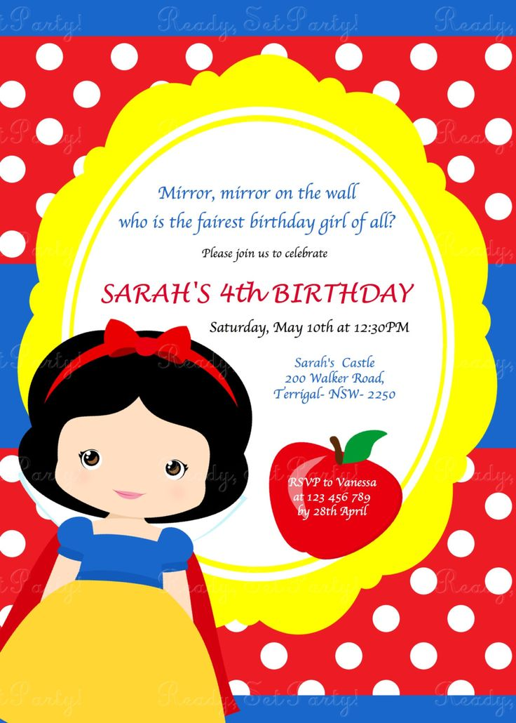 Snow White Birthday Party Invitation by Love this Moment! by LovethisMomentParty on Etsy https://www.etsy.com/listing/184442635/snow-white-birthday-party-invitation-by