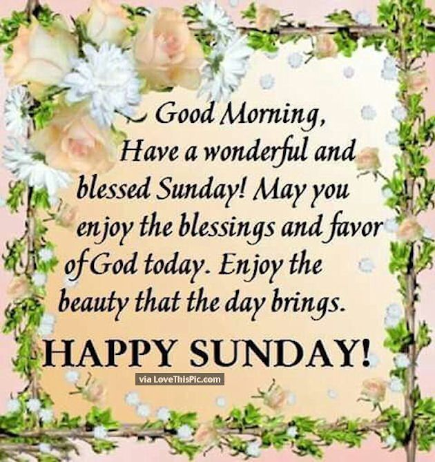 Good Morning Have A Wonderful And Blessed Sunday