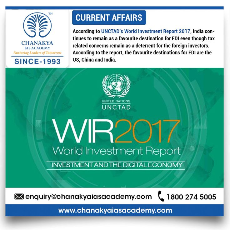#CurrentAffairs   According to #UNCTAD's #WorldInvestmentReport2017, India continues to remain as a favourite destination for #FDI even though tax related concerns remain as a deterrent for the foreign investors. According to the report, the favourite destinations for FDI are the US, #China and #India.    #UPSCPreparation #CSE2017 #UFCCourse #CurrentUpdates #ChanakyaIASAcademy